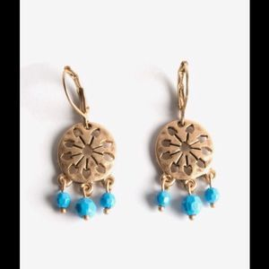 The Sak Tri Bead Disc Earrings GOLD TONE